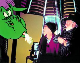 """Elliott the Dragon, Sean Marshall and Mickey Rooney appear in """"Pete's Dragon."""" (Deseret Photo)"""