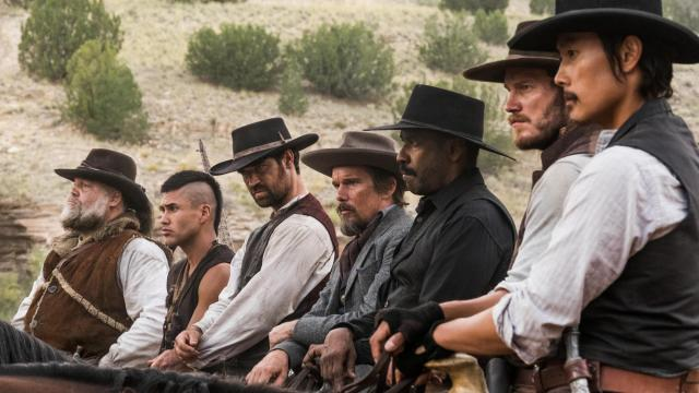 """From left, Vincent D'Onofrio, Martin Sensmeier, Manuel Garcia-Rulfo, Ethan Hawke, Denzel Washington, Chris Pratt and Byung-hun Lee star in Columbia Pictures' """"The Magnificent Seven."""" (Deseret Photo)"""