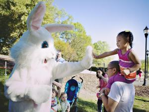 Sklyar Ngo, 2, of Raleigh, gives the Easter Bunny a high-five before the start of the hunt.