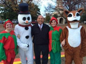 WRAL's Gilbert Baez was master of ceremonies Thursday for the annual tree lighting celebration in downtown Fayetteville.