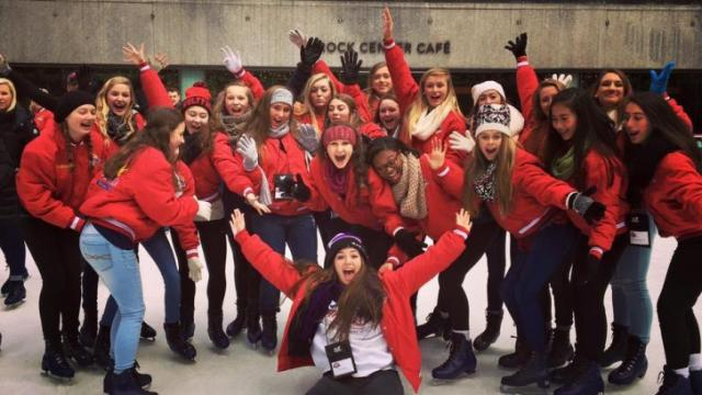 Performers from the Holly Springs School of Dance visited Rockefeller Center before their Thanksgiving parade performance. (Photo courtesy: Marilyn Chappell)