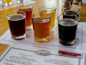 A flight of beers at Boylan Bridge Brewpub in Raleigh. (Photo by Richard Mitchell)