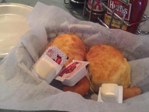 Biscuits at the State Farmers Market Restaurant - served with hushpuppies