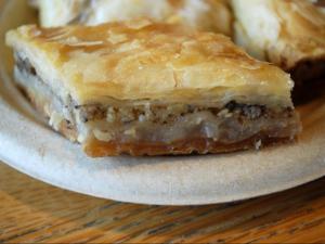 Crispy, flaky, nutty walnut baklava from Neomonde in Morrisville.