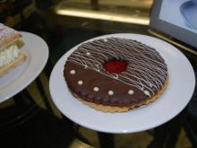 A chocolate linzer cookie from Guglhupf bakery in Durham.
