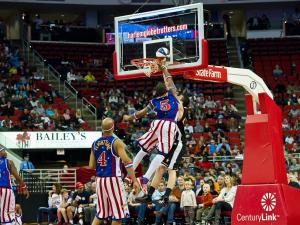 The Harlem Globetrotters entertain the crowd at the RBC Center in Raleigh on March 2, 2012.