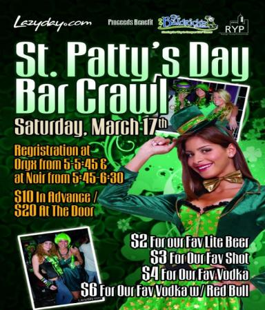 Lazyday has a bar crawl planned in downtown Raleigh Saturday night to benefit St. Baldrick's.