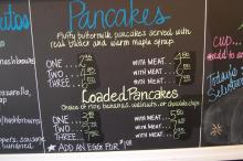The pancake menu at Big City Bagel and Cafe in Raleigh.