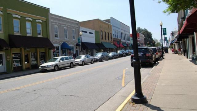 A look at the stores along Salem Street in downtown Apex.
