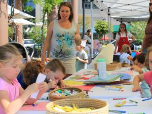 Kids craft table at Go Ask Mom's North Hills Event April 17
