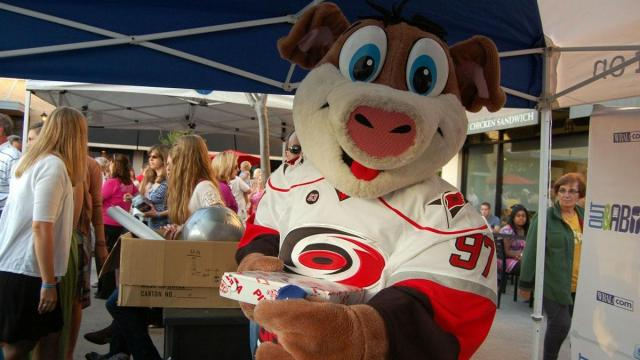 Carolina Hurricanes mascot Stormy dropped by the Out & About tent for some fun during the Beach Music Series at North Hills.