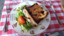 A croque monsieur at a French restaurant in Montmartre, Paris.