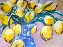 A painting class presented by Wine and Design at North Hills Art Week on June 6 provides everything you need to paint a Yellow Tulips materpiece.