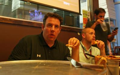 Mike Maniscalco of 620 AM The Buzz took part in the 24-inch pizza challenge at Ruckus in Cary June 12, 2012.