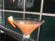 The Krave It Martini- Stoli Strawberry Vodka and freshly muddled watermelon with fresh lime and a splash of Red Bull and Cranberry juice.