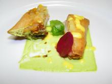 Course 2: Flash Fried Spring Roll with Spicy Shrimp & Orange Lemon Cream (Photo by Judy Royal)