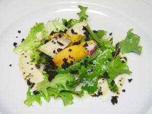 Course 1: Confit of Sturgeon Salad with Roasted Peaches, Green Beans, Perfect Puree Guava & Black Quinoa Dressing. (Photo by Judy Royal.)