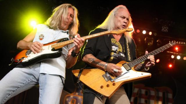 Lynyrd Skynyrd entertained a lively crowd at Time Warner Cable Music Pavilion at Walnut Creek on Saturday, Aug. 4, 2012, in Raleigh, N.C. (Photo by Jack Morton)