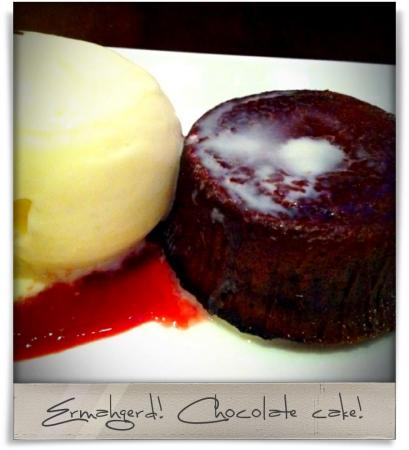 Taken at Oro Restaurant and Lounge.  Comment: Ermahgerd! Chocolate cake!