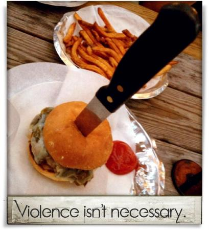 Taken at Bull City Burger and Brewery.  Comment: Violence isn't necessary.