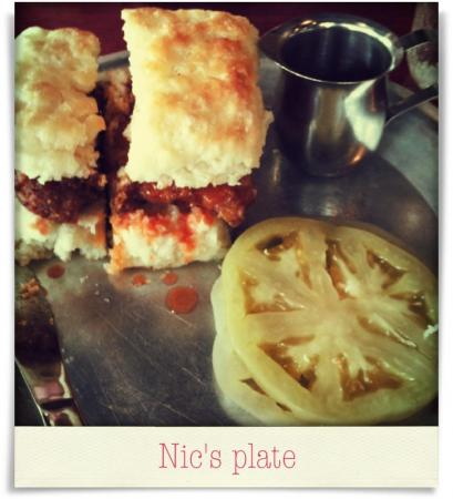 Taken at Beasley's Chicken & Honey.  Comment: Nic's plate