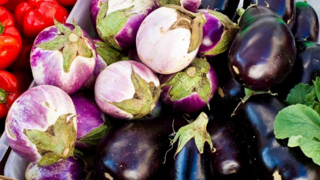 Eggplant are for sale at the Wild Onion Farms booth during the Midtown Farmers Market at North Hills in Raleigh on September 15, 2012.