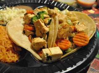 For the vegetarian, tacos with tofu.
