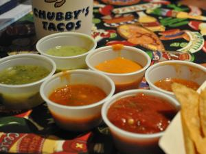 Chubby's salsa bar spans the taste and color spectrum.