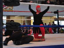 The Luchadoras, a group of masked female wrestlers, fought five ferocious battles at the Durham Armory on Saturday, Nov. 10, 2012.