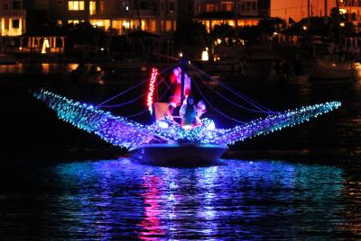 """Rudolph the Redtail Stingray"" won the ""People's Choice"" award at the 29th Annual North Carolina Holiday Flotilla. (Photo courtesy: Beth Watson Hedgepeth)"