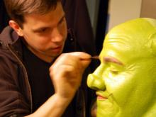 Out and About took a trip into the makeup room with Shrek to find out how he gets that green glow!