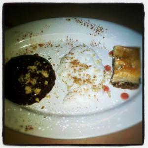 Chocolate mousse, rice pudding and bakalava at Troy Mezze.
