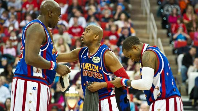 The Harlem Globetrotters perform at the PNC Arena in Raleigh, NC on March 1, 2013.
