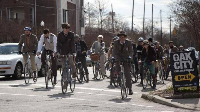 Cyclists in the Raleigh Tweed Ride prepare to move at the intersection of Franklin and Person St. Saturday afternoon