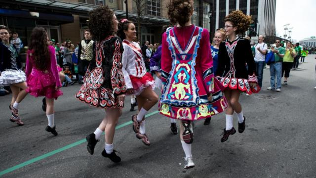 Irish Dancers participate in the Raleigh St. Patricks Day Parade on March 16, 2013. The dancers stopped breifly along Fayetteville Street to perform. Photo by John West