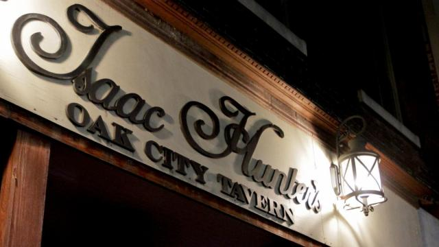 Isaac Hunter's Oak City Tavern was one stop along the tour where we learned about different haunted stories and pubs during the Raleigh Pub Crawl & Haunted Adventure tour Saturday night (photo by Wes Hight).