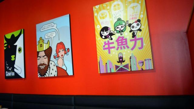The artwork at Cowfish Raleigh.