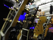 Multiple guitars are found on stage inside the John W. Pope Convocation Center before the Goo Goo Dolls perform on the campus of Campbell University on Wednesday April 17, 2013.
