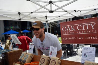 The Raleigh Downtown Farmers Market kicked off the 2013 season on April 14, 2013. Oak City Coffee Roasters are new additions.