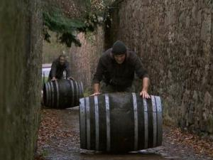 """Anthony and Bates in """"Working Our Barrels Off"""" Season 22 Episode 10 In Detour B, Hockey brothers Anthony (left) and Bates (right) must deliver eight barrels of Scotch whisky to the Whisky Festival held in Duddingston Village, in order to receive the next clue, on THE AMAZING RACE, Sunday, April 28 (8:00-9:00 PM, ET/PT) on the CBS Television Network. Photo: CBS ©2013 CBS Broadcasting, Inc. All Rights Reserved"""