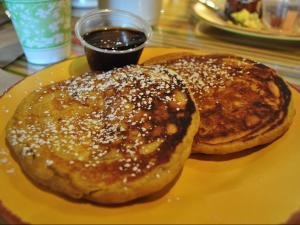 The pumpkin pancakes at Cary Cafe.