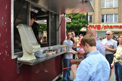 Guests wait for their food at Hibachi Xpress during the Downtown Raleigh Food Truck Rodeo.