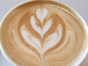 An almond latte at Jubala.