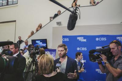 "Actor Mike Vogel, who has appeared in movies like ""Cloverfield,"" ""The Help,"" and ""The Sisterhood of the Traveling Pants,"" takes questions on the ""Under The Dome"" red carpet on Thursday, June 20."