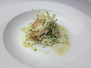 Course 2: Pecan Wood Smoked Original Sin Rubbed Grey Tile Fish, Apple-Fennel Salad, Summer Squash Fergola, Lusty Monk Beurre Noisette (Midtown Grille) (Image from Competition Dining)