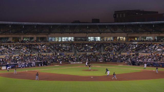 There was standing room only at the Durham Bulls Athletic Park as the Bulls take on the Norfolk Tides Saturday, August 24, 2013 in Durham, NC.  The crowd of 11,536 was the third largest in the park's history.