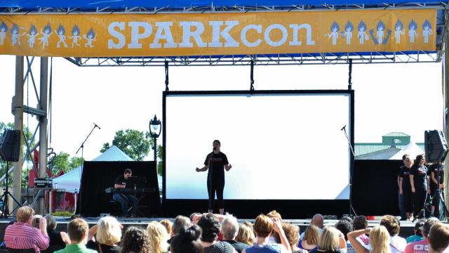 Musicians and singers perform in downtown Raleigh during SPARKcon 2013.