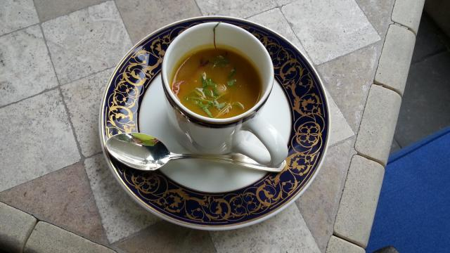 Roasted Squash and Poblano Pepper Soup with sweet fried hominy and micro herbs is on the fall menu at the Washington Duke Inn's Fairview Restaurant.