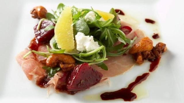 Course 1: Cheerwine® Braised Beet Salad, Johnston County Country Ham, House Ricotta, Pickled Onions, Spiced Nuts, Cheerwine® Vinaigrette, Chef Jon Fortes of Mimosa Grill (Image from Competition Dining, Professional Food Photography by Mark Petko)