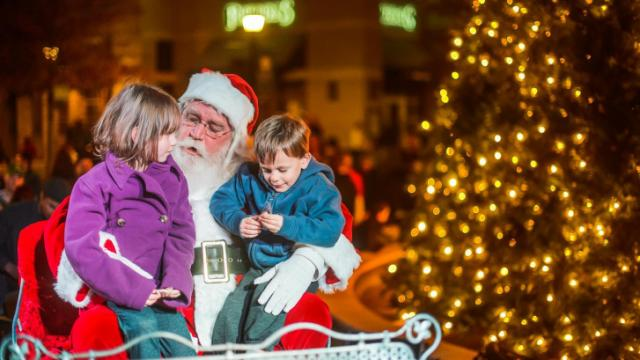 November 23, 2013. Raleigh, NC. The annual christmas tree lighting celebration takes place at North Hills in Raleigh, NC.